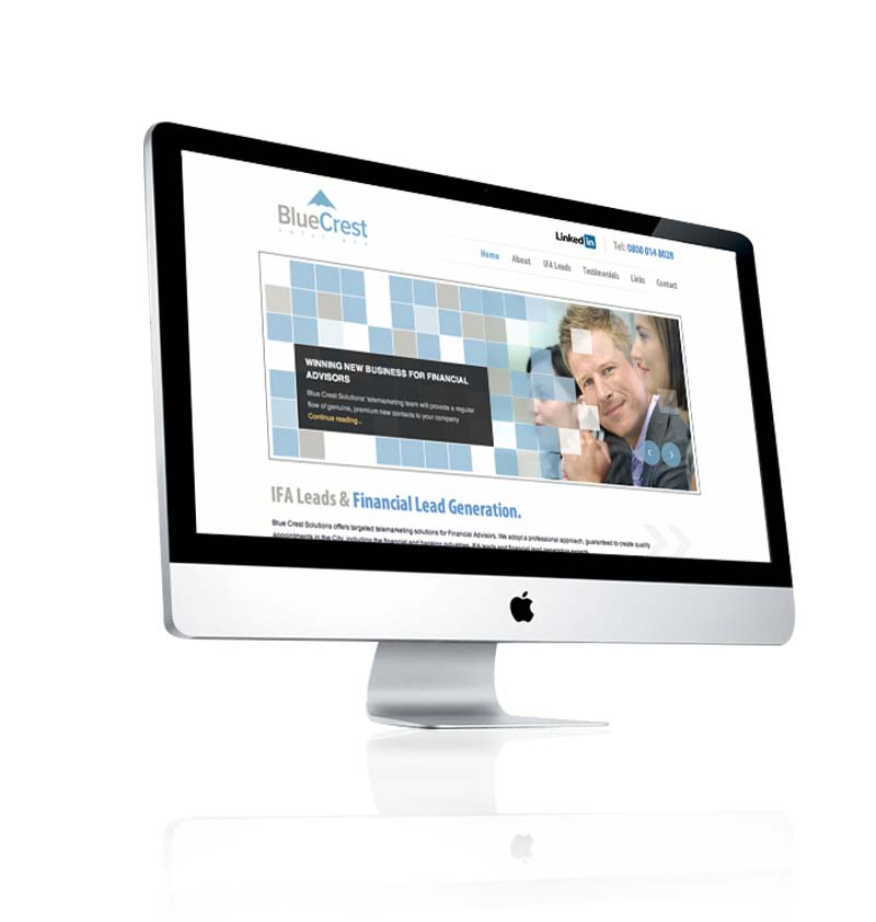 Web design example - financial company